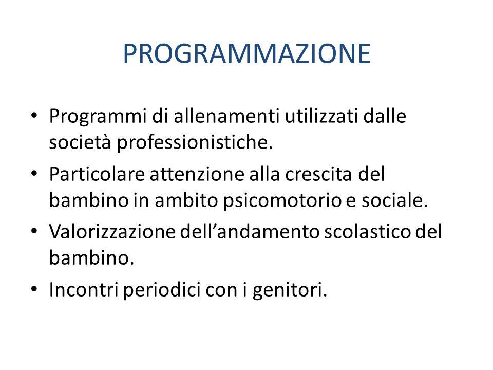 PROGRAMMAZIONE Programmi di allenamenti utilizzati dalle società professionistiche. Particolare attenzione alla crescita del bambino in ambito psicomo