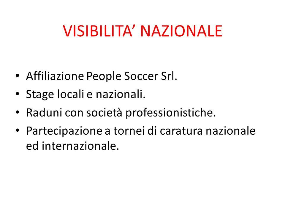 VISIBILITA NAZIONALE Affiliazione People Soccer Srl. Stage locali e nazionali. Raduni con società professionistiche. Partecipazione a tornei di caratu