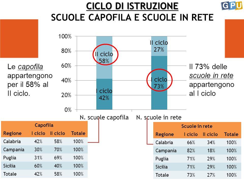 CICLO DI ISTRUZIONE CICLO DI ISTRUZIONE SCUOLE CAPOFILA E SCUOLE IN RETE Il 73% delle scuole in rete appartengono al I ciclo Le capofila appartengono per il 58% al II ciclo.