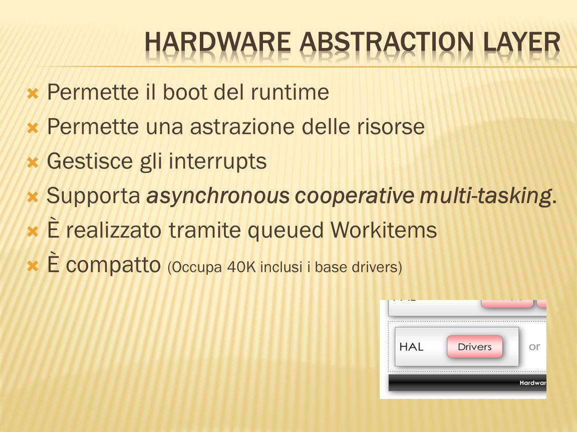Permette il boot del runtime Permette una astrazione delle risorse Gestisce gli interrupts Supporta asynchronous cooperative multi-tasking. È realizza