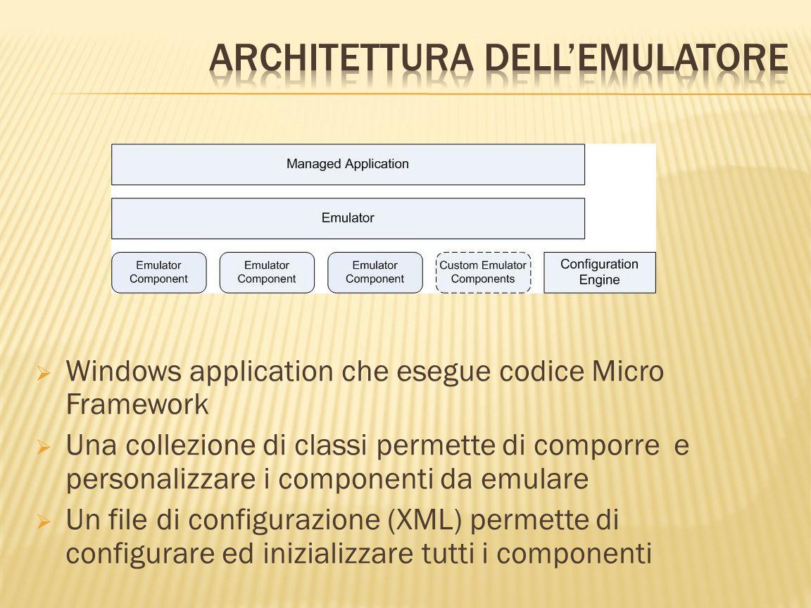 Windows application che esegue codice Micro Framework Una collezione di classi permette di comporre e personalizzare i componenti da emulare Un file d