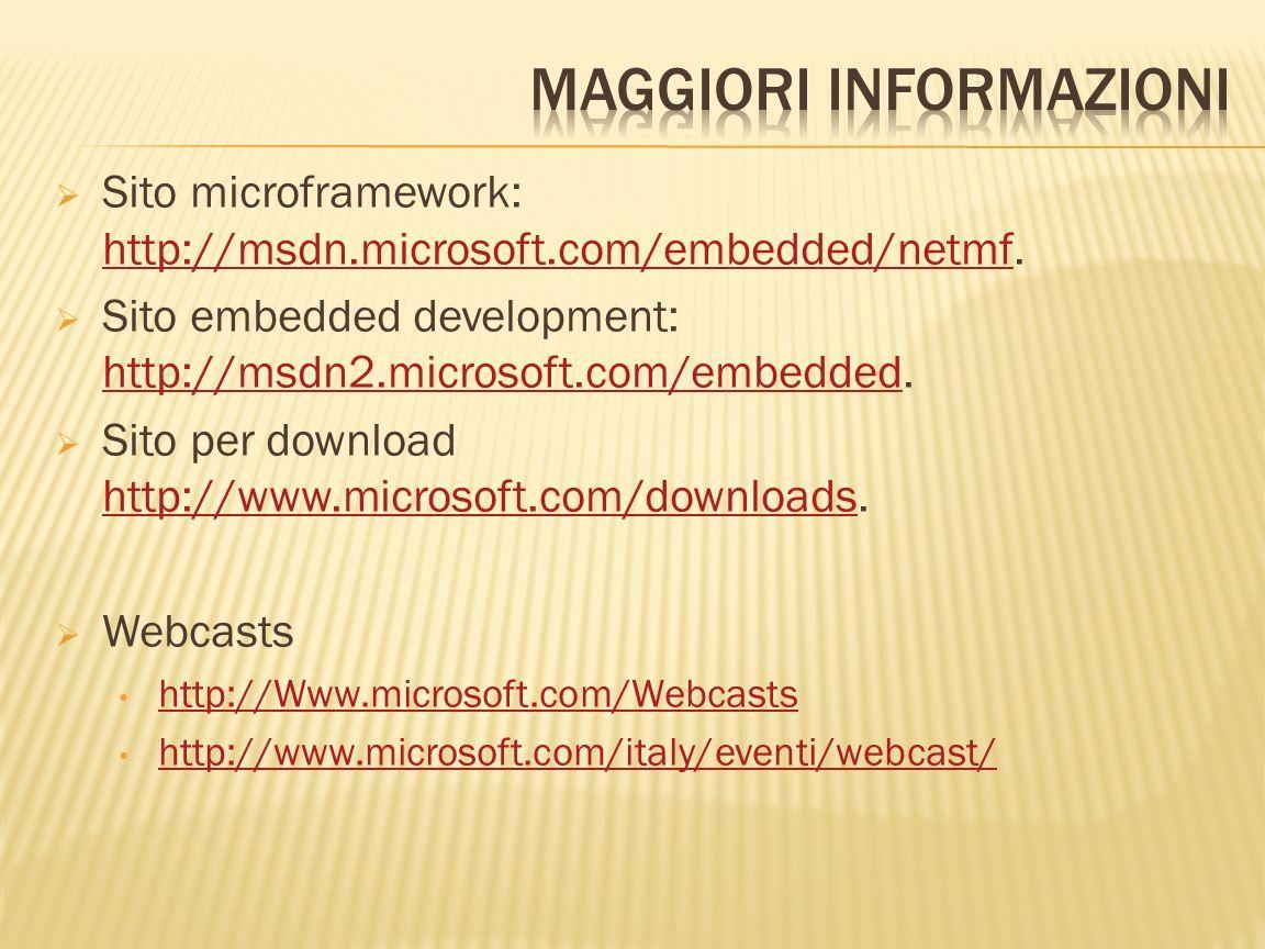 Sito microframework: http://msdn.microsoft.com/embedded/netmf. http://msdn.microsoft.com/embedded/netmf Sito embedded development: http://msdn2.micros
