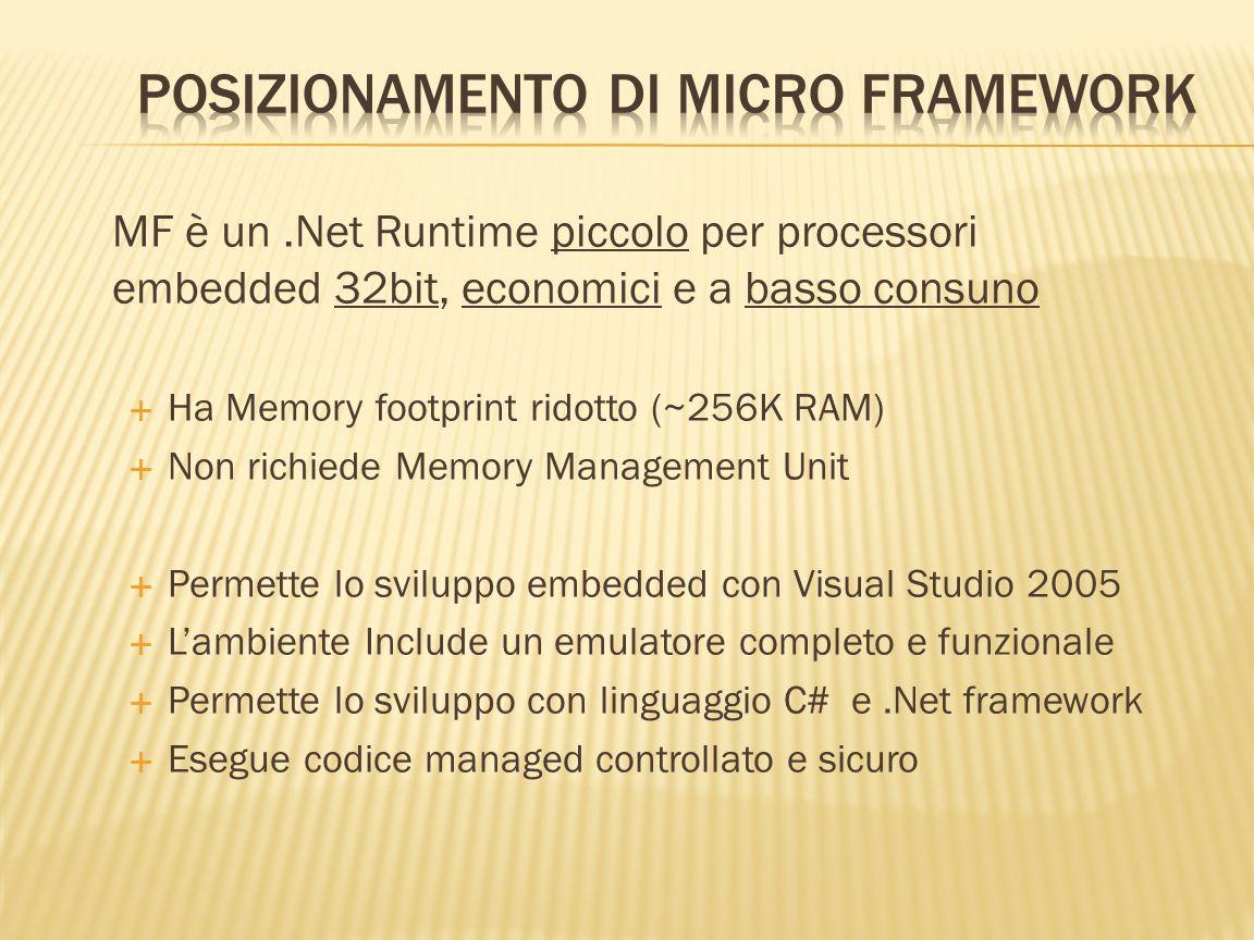MF è un.Net Runtime piccolo per processori embedded 32bit, economici e a basso consuno Ha Memory footprint ridotto (~256K RAM) Non richiede Memory Man