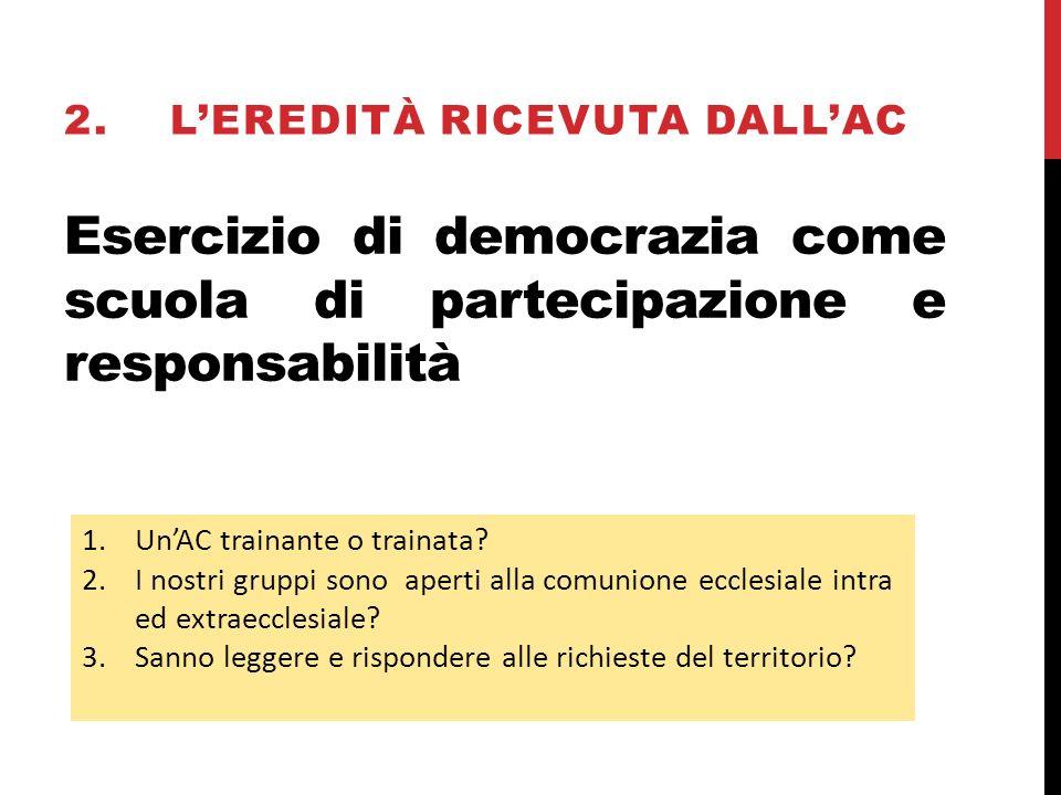 Esercizio di democrazia come scuola di partecipazione e responsabilità 1.UnAC trainante o trainata.
