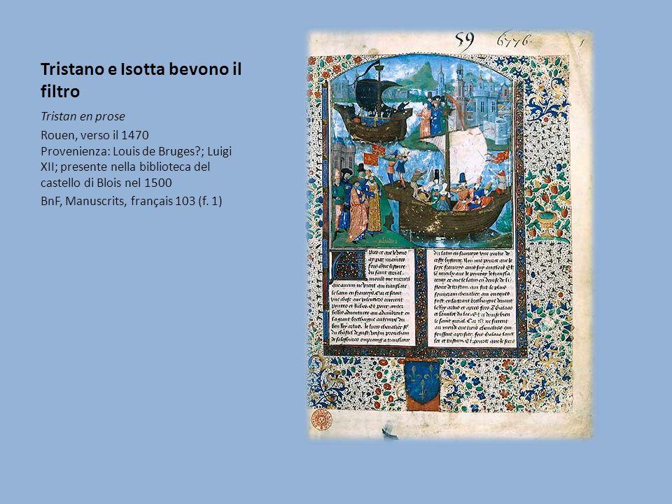 Tristano e Isotta bevono il filtro Questo manoscritto, che riproduce una versione ridotta e relativamente isolata del Tristano in prosa, conserva ancora, come i romanzi in versi, l episodio della lotta di Tristano contro il drago (sconosciuto agli altri manoscritti) e una redazione isolata della morte dei due amanti.