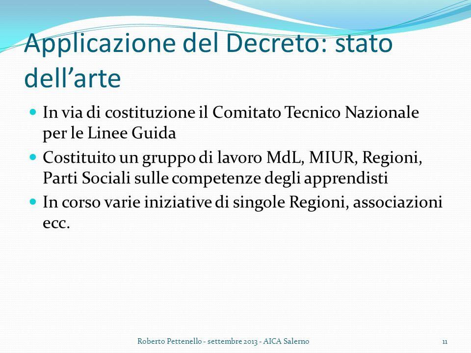 Applicazione del Decreto: stato dellarte In via di costituzione il Comitato Tecnico Nazionale per le Linee Guida Costituito un gruppo di lavoro MdL, M