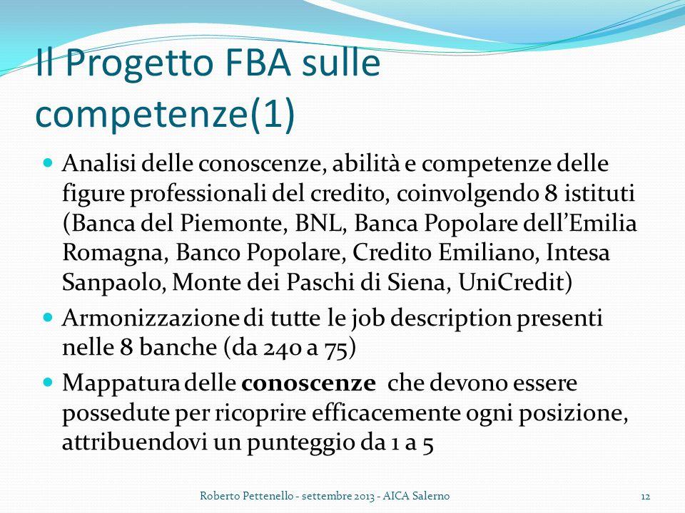 Il Progetto FBA sulle competenze(1) Analisi delle conoscenze, abilità e competenze delle figure professionali del credito, coinvolgendo 8 istituti (Ba