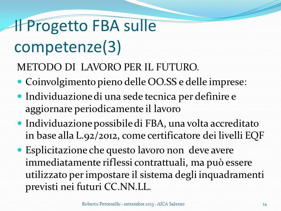 Il Progetto FBA sulle competenze(3) METODO DI LAVORO PER IL FUTURO. Coinvolgimento pieno delle OO.SS e delle imprese: Individuazione di una sede tecni