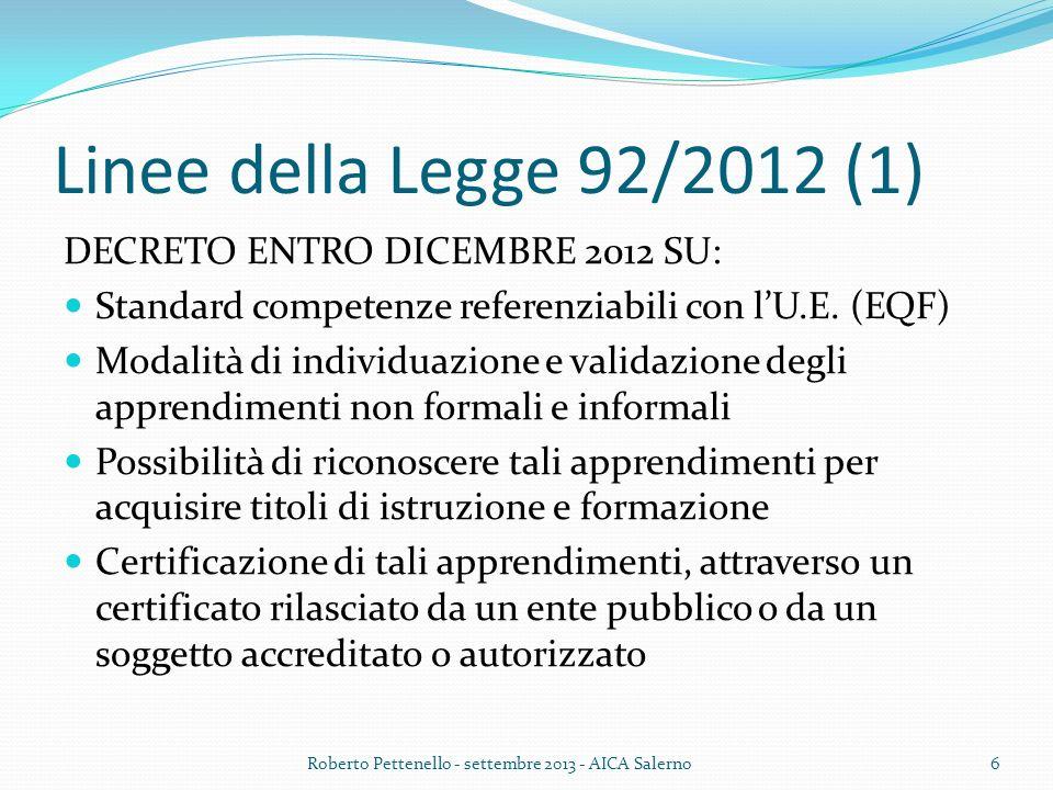 Linee della Legge 92/2012 (1) DECRETO ENTRO DICEMBRE 2012 SU: Standard competenze referenziabili con lU.E. (EQF) Modalità di individuazione e validazi