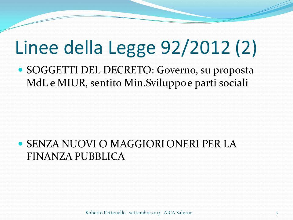 Linee della Legge 92/2012 (2) SOGGETTI DEL DECRETO: Governo, su proposta MdL e MIUR, sentito Min.Sviluppo e parti sociali SENZA NUOVI O MAGGIORI ONERI PER LA FINANZA PUBBLICA Roberto Pettenello - settembre 2013 - AICA Salerno7