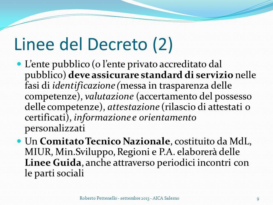Linee del Decreto (2) Lente pubblico (o lente privato accreditato dal pubblico) deve assicurare standard di servizio nelle fasi di identificazione (me