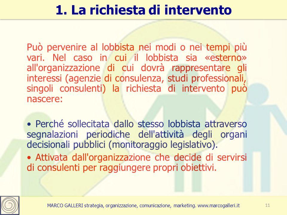 MARCO GALLERI strategia, organizzazione, comunicazione, marketing. www.marcogalleri.it Può pervenire al lobbista nei modi o nei tempi più vari. Nel ca