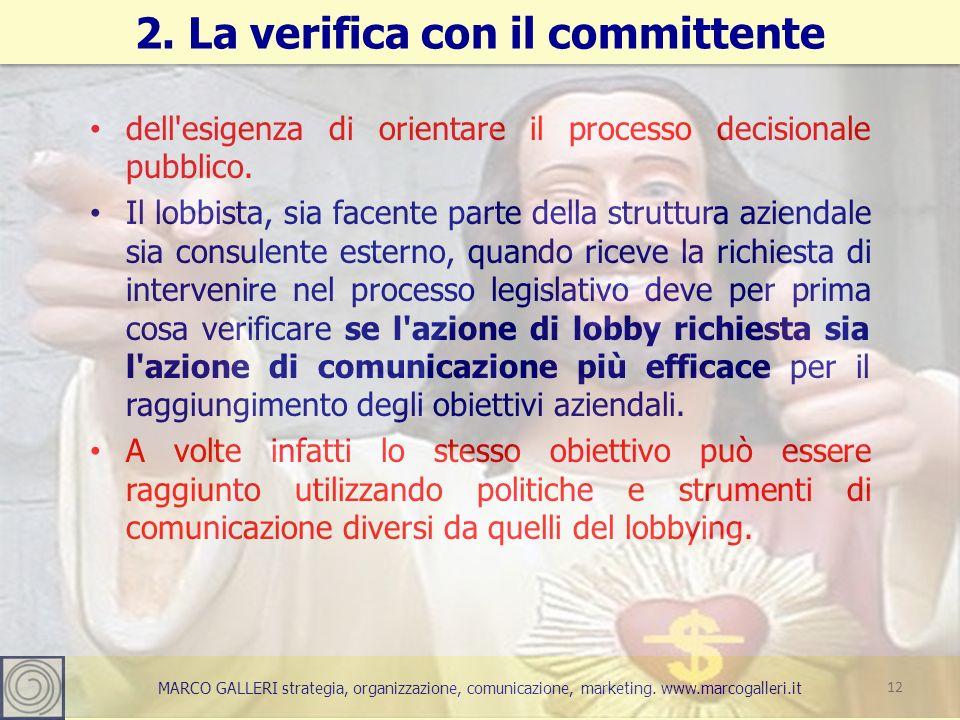 MARCO GALLERI strategia, organizzazione, comunicazione, marketing. www.marcogalleri.it dell'esigenza di orientare il processo decisionale pubblico. Il