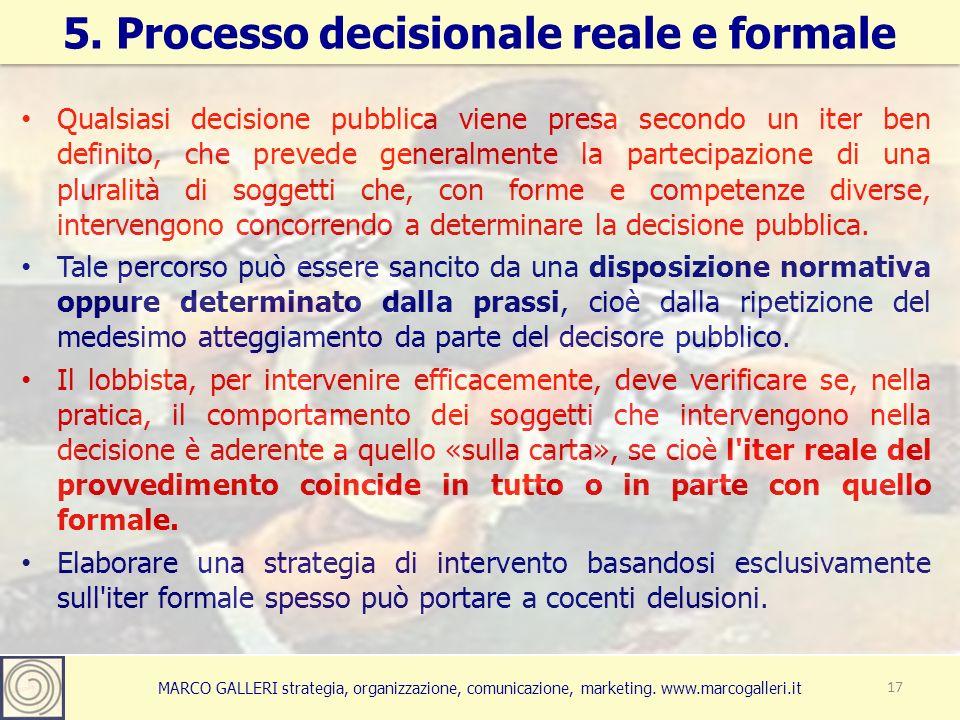 MARCO GALLERI strategia, organizzazione, comunicazione, marketing. www.marcogalleri.it Qualsiasi decisione pubblica viene presa secondo un iter ben de