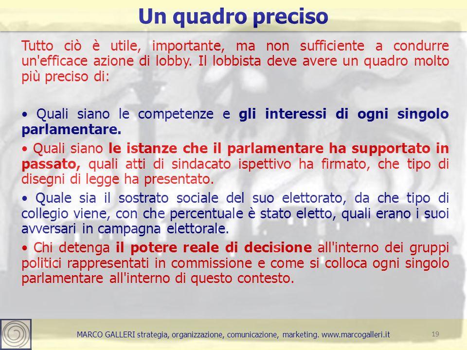 MARCO GALLERI strategia, organizzazione, comunicazione, marketing. www.marcogalleri.it Tutto ciò è utile, importante, ma non sufficiente a condurre un