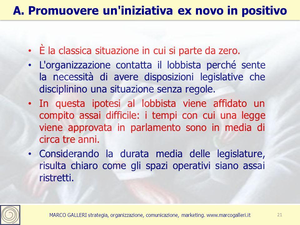 MARCO GALLERI strategia, organizzazione, comunicazione, marketing. www.marcogalleri.it A. Promuovere un'iniziativa ex novo in positivo 21 È la classic
