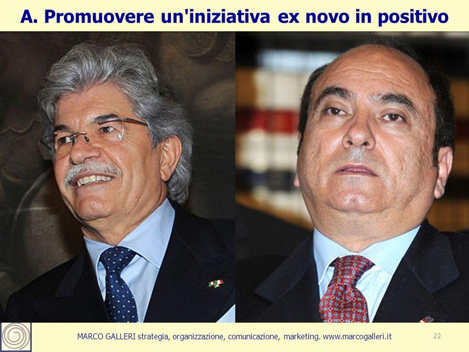 MARCO GALLERI strategia, organizzazione, comunicazione, marketing. www.marcogalleri.it 22 A. Promuovere un'iniziativa ex novo in positivo