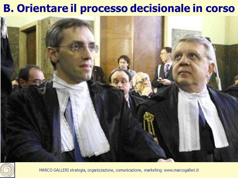 24 B. Orientare il processo decisionale in corso MARCO GALLERI strategia, organizzazione, comunicazione, marketing. www.marcogalleri.it