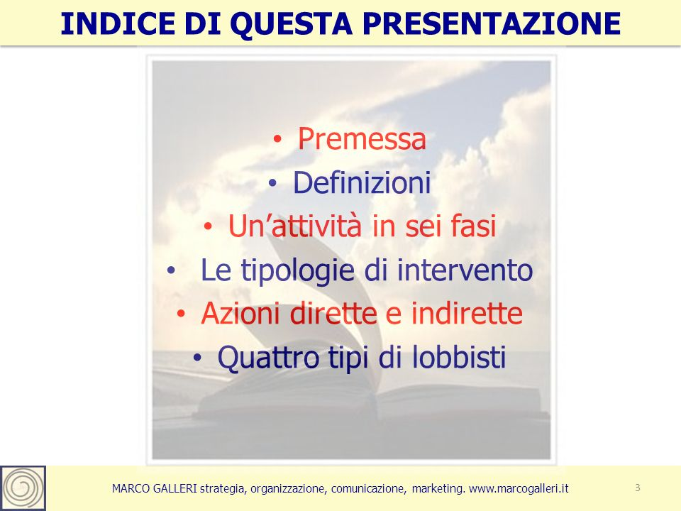 INDICE DI QUESTA PRESENTAZIONE 3 Premessa Definizioni Unattività in sei fasi Le tipologie di intervento Azioni dirette e indirette Quattro tipi di lob