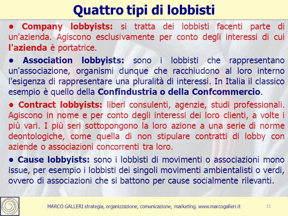 MARCO GALLERI strategia, organizzazione, comunicazione, marketing. www.marcogalleri.it Quattro tipi di lobbisti 31 Company lobbyists: si tratta dei lo