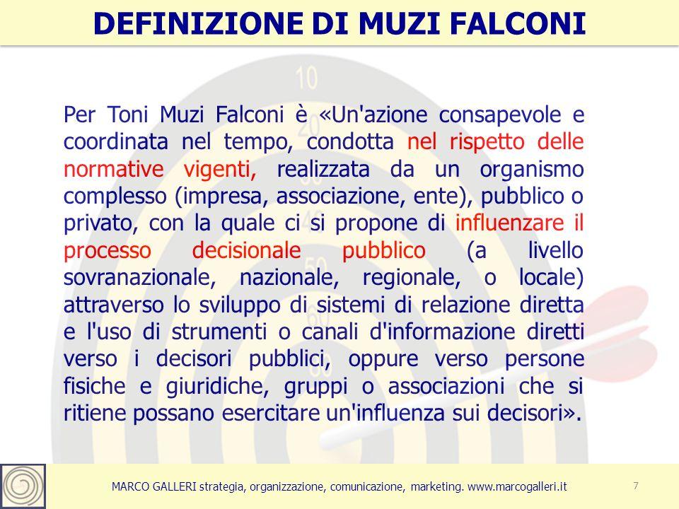 MARCO GALLERI strategia, organizzazione, comunicazione, marketing. www.marcogalleri.it Per Toni Muzi Falconi è «Un'azione consapevole e coordinata nel