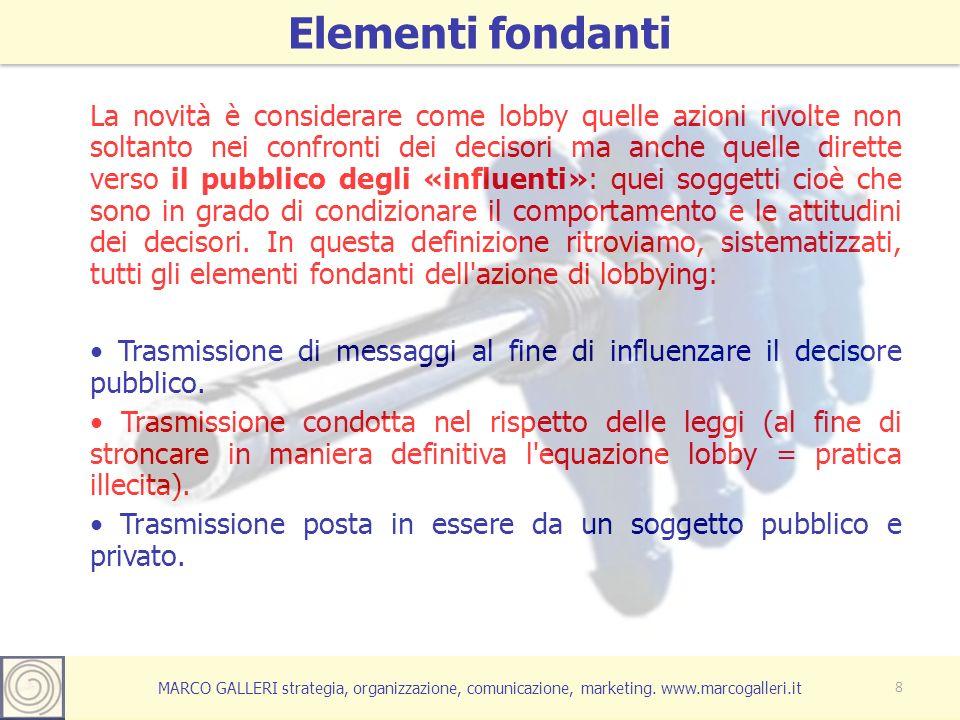 MARCO GALLERI strategia, organizzazione, comunicazione, marketing. www.marcogalleri.it La novità è considerare come lobby quelle azioni rivolte non so