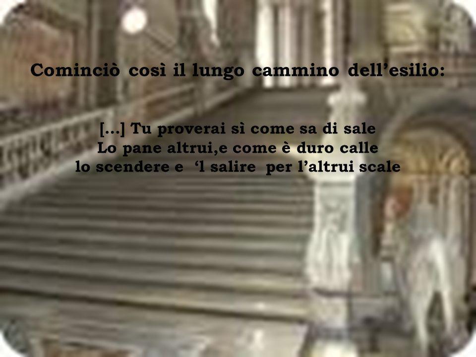 Quando i Guelfi neri si impadronirono del potere, per i Bianchi cominciarono a fioccare le condanne: Dante fu accusato di corruzione e baratteria e fu condannato al pagamento di una forte multa e allesclusione perpetua dalle cariche pubbliche.