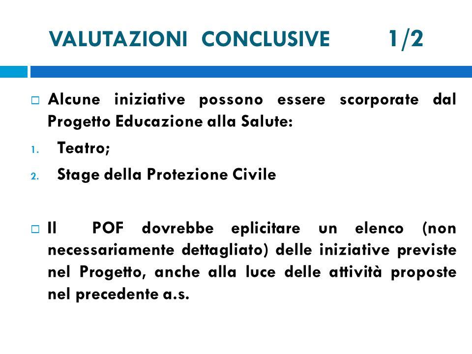 VALUTAZIONI CONCLUSIVE 1/2 Alcune iniziative possono essere scorporate dal Progetto Educazione alla Salute: 1. Teatro; 2. Stage della Protezione Civil