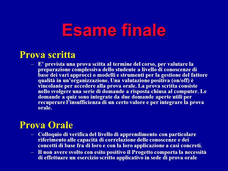 Esame finale Prova scritta –E prevista una prova scitta al termine del corso, per valutare la preparazione complessiva dello studente a livello di con