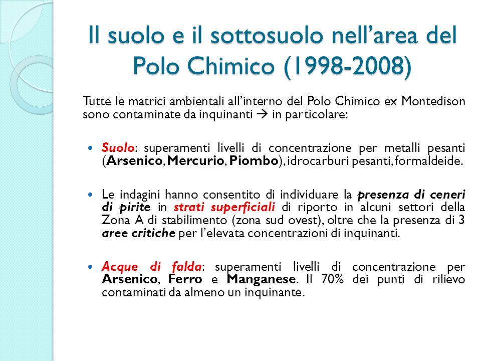 Il suolo e il sottosuolo nellarea del Polo Chimico (1998-2008) Il suolo e il sottosuolo nellarea del Polo Chimico (1998-2008) Tutte le matrici ambient
