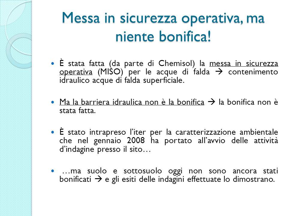 Messa in sicurezza operativa, ma niente bonifica! È stata fatta (da parte di Chemisol) la messa in sicurezza operativa (MISO) per le acque di falda co