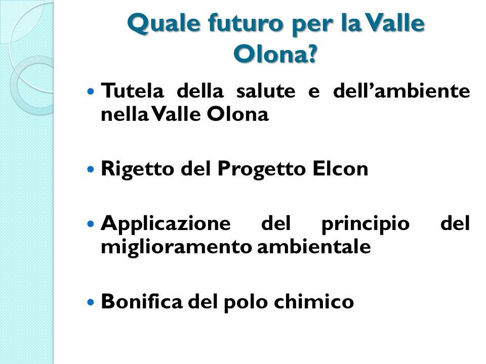 Quale futuro per la Valle Olona? Tutela della salute e dellambiente nella Valle Olona Rigetto del Progetto Elcon Applicazione del principio del miglio
