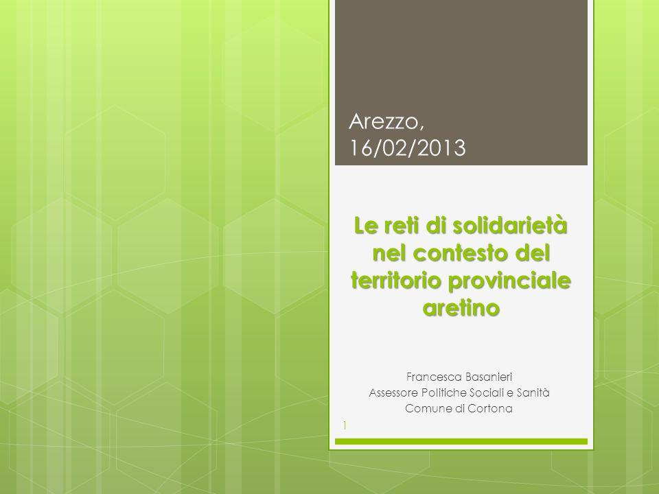 Le reti di solidarietà nel contesto del territorio provinciale aretino Francesca Basanieri Assessore Politiche Sociali e Sanità Comune di Cortona Arez