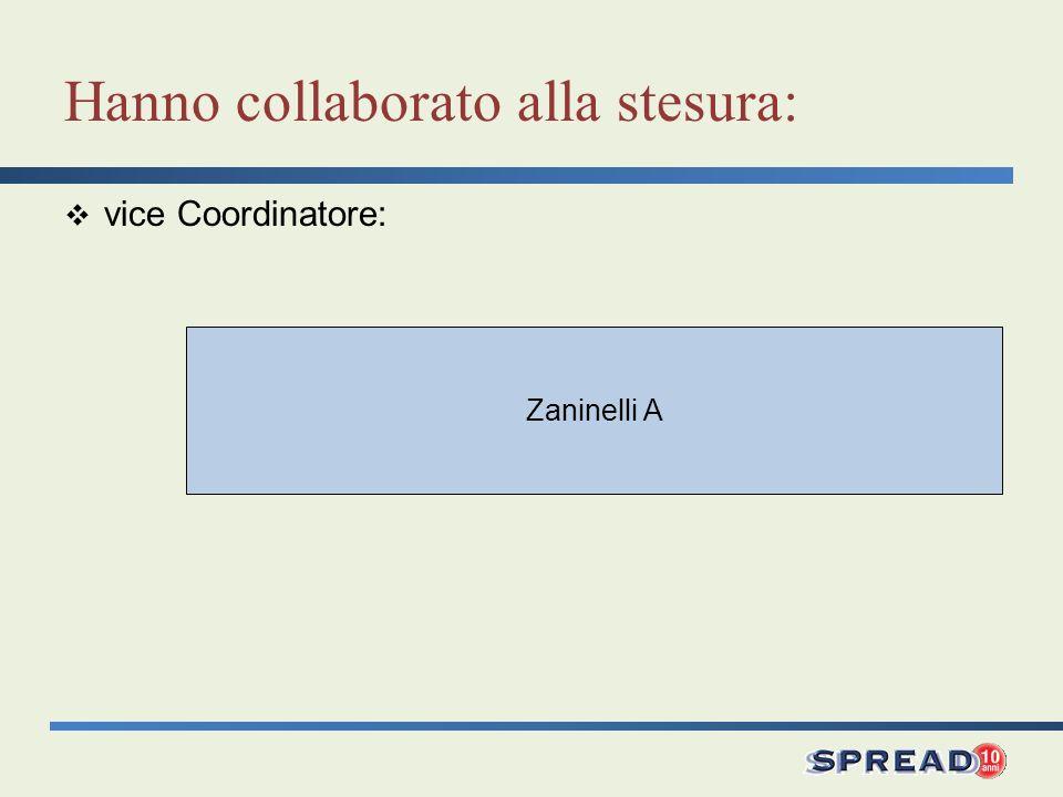 Zaninelli A Hanno collaborato alla stesura: vice Coordinatore: