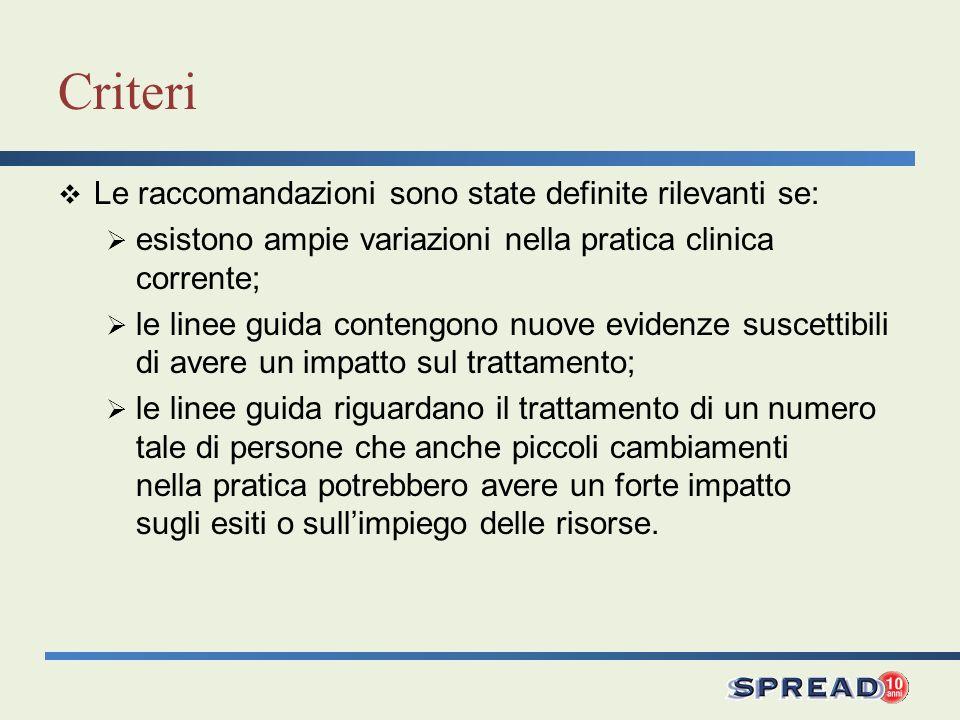 Criteri Le raccomandazioni sono state definite rilevanti se: esistono ampie variazioni nella pratica clinica corrente; le linee guida contengono nuove