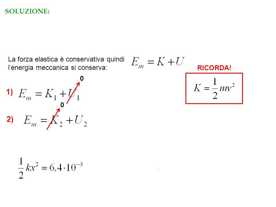 La forza elastica è conservativa quindi lenergia meccanica si conserva: 1) 2) 0 0 RICORDA! RISPOSTA C SOLUZIONE:
