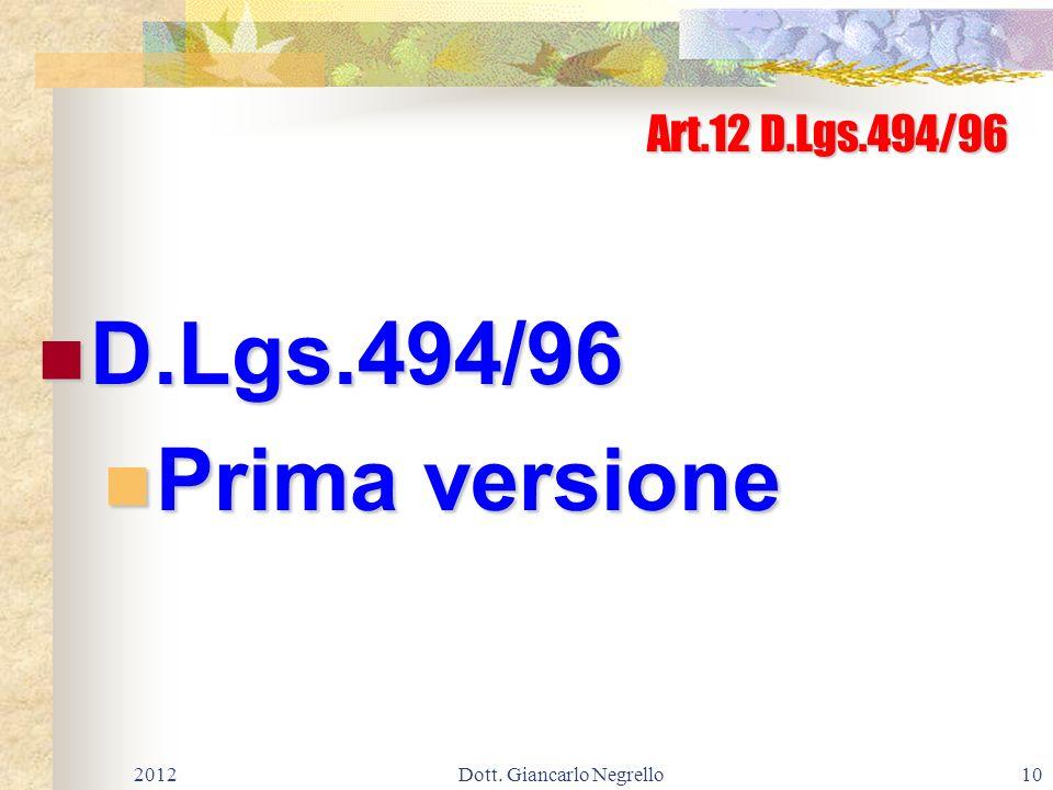 Art.12 D.Lgs.494/96 D.Lgs.494/96 D.Lgs.494/96 Prima versione Prima versione 201210Dott. Giancarlo Negrello