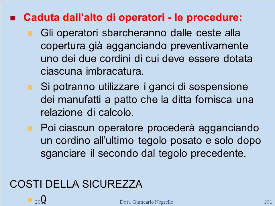 Caduta dallalto di operatori - le procedure: Caduta dallalto di operatori - le procedure: Gli operatori sbarcheranno dalle ceste alla copertura già ag
