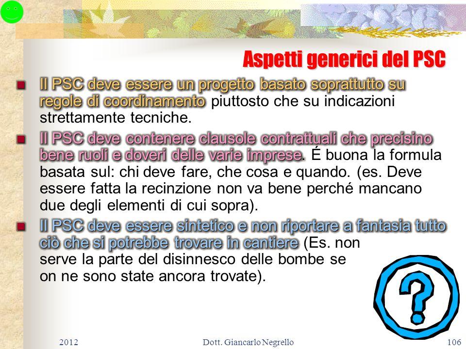 106 Aspetti generici del PSC 2012Dott. Giancarlo Negrello