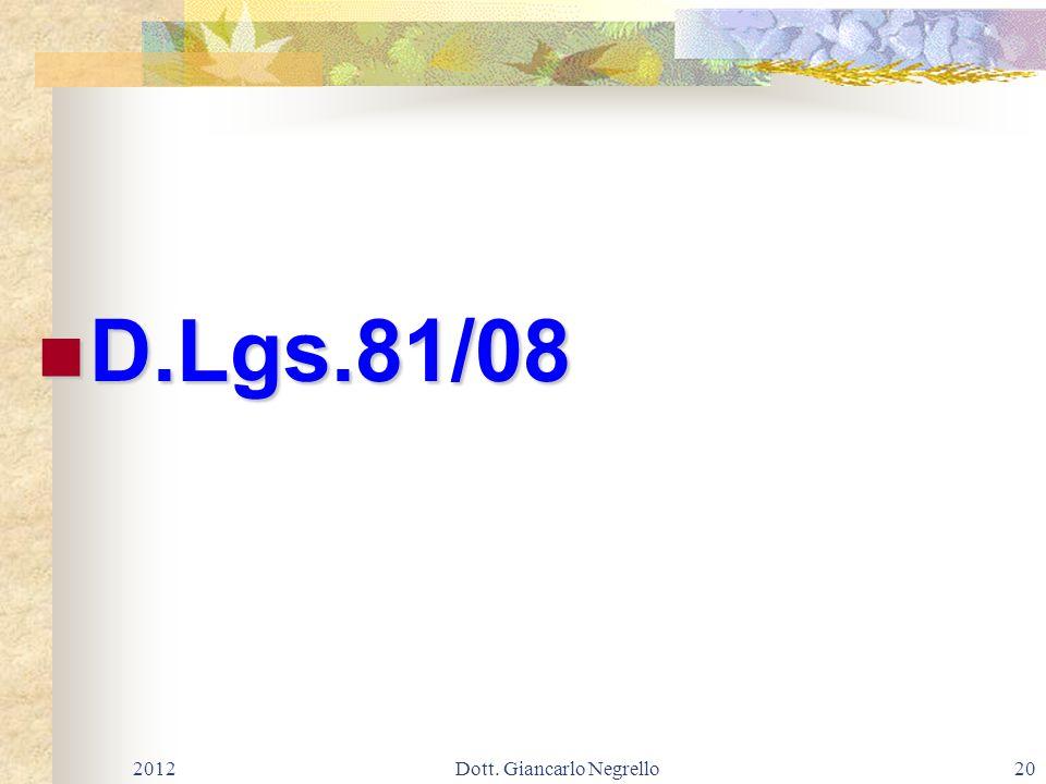 D.Lgs.81/08 D.Lgs.81/08 201220Dott. Giancarlo Negrello