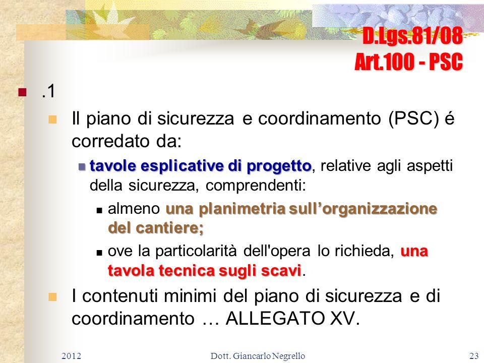 D.Lgs.81/08 Art.100 - PSC.1 Il piano di sicurezza e coordinamento (PSC) é corredato da: tavole esplicative di progetto tavole esplicative di progetto,