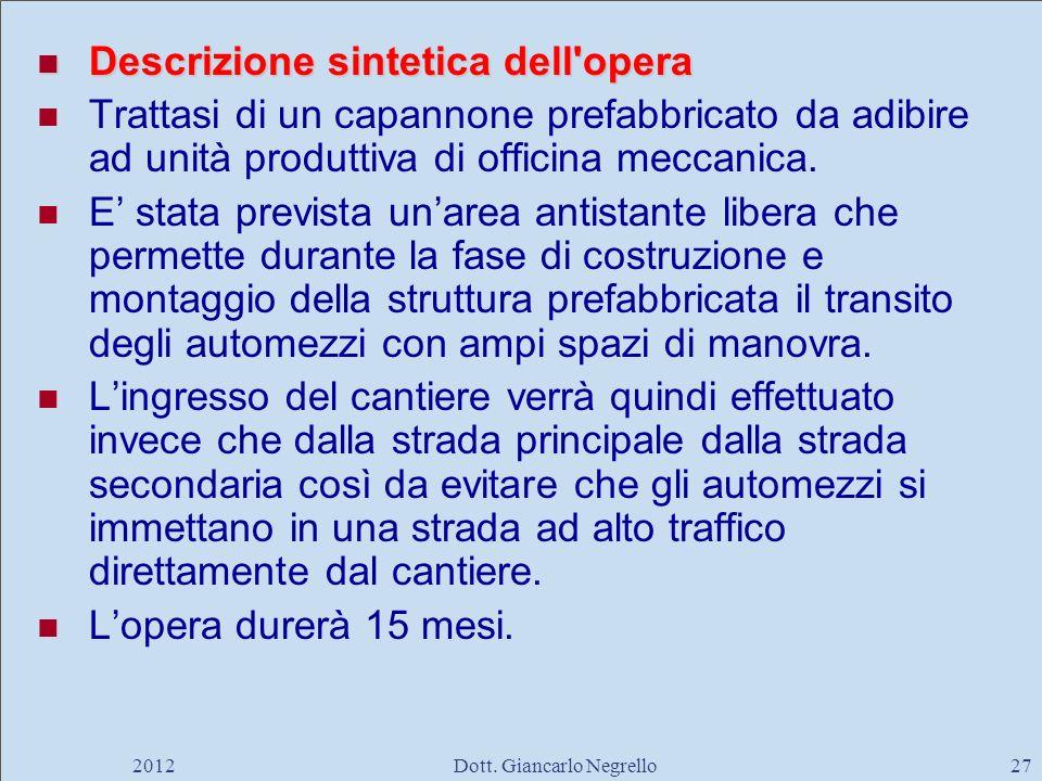 Descrizione sintetica dell'opera Descrizione sintetica dell'opera Trattasi di un capannone prefabbricato da adibire ad unità produttiva di officina me