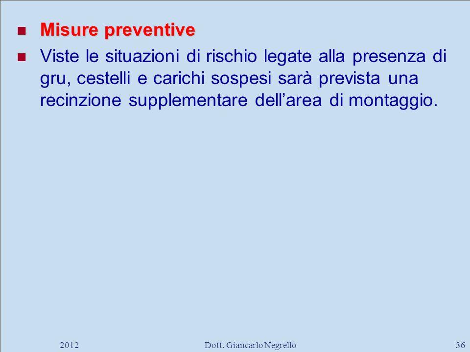 Misure preventive Misure preventive Viste le situazioni di rischio legate alla presenza di gru, cestelli e carichi sospesi sarà prevista una recinzion