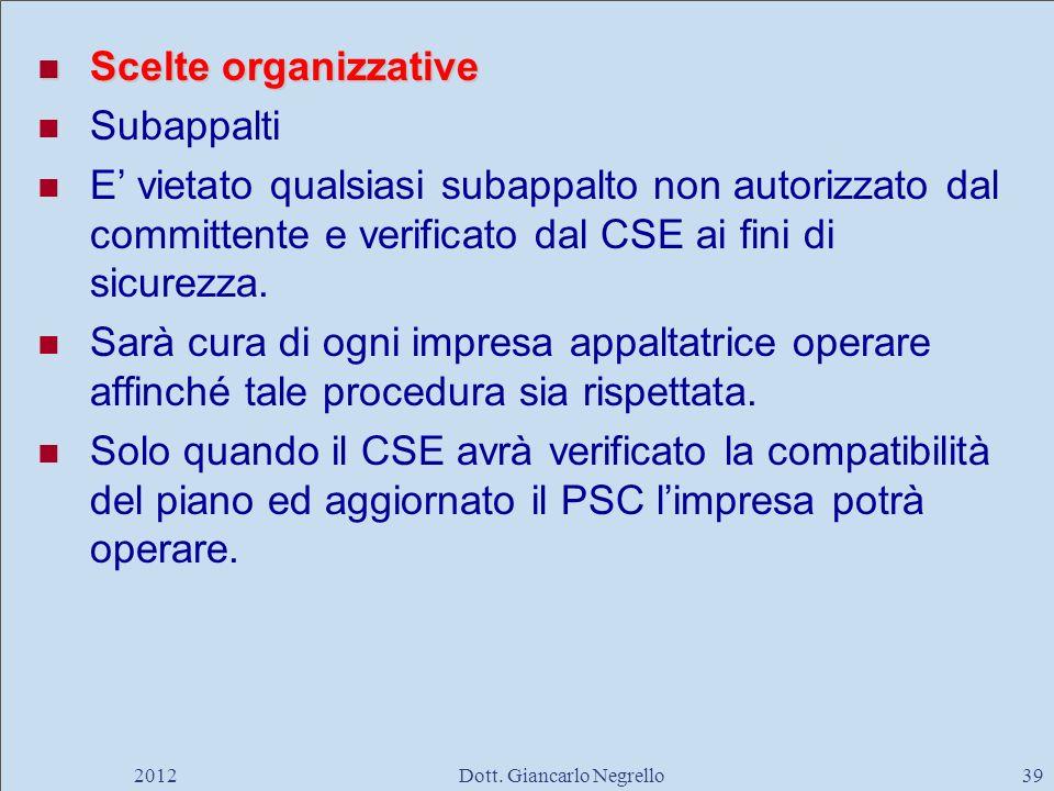 Scelte organizzative Scelte organizzative Subappalti E vietato qualsiasi subappalto non autorizzato dal committente e verificato dal CSE ai fini di si