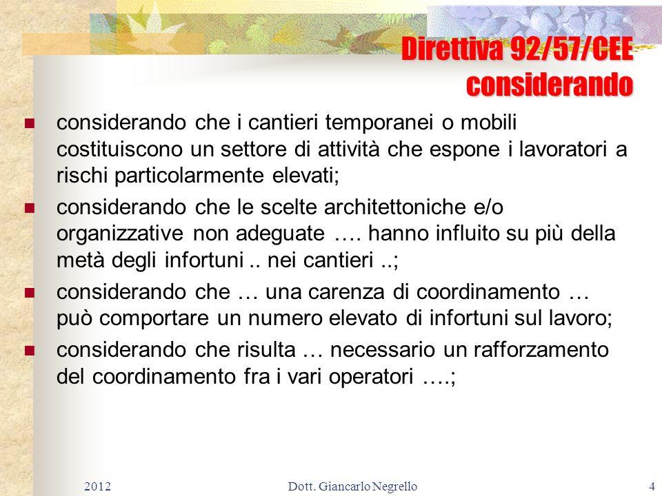 Allegato XV cooperazione e del coordinamento g) le modalità organizzative della cooperazione e del coordinamento, nonché della reciproca informazione, fra i datori di lavoro e tra questi ed i lavoratori autonomi; 201255Dott.