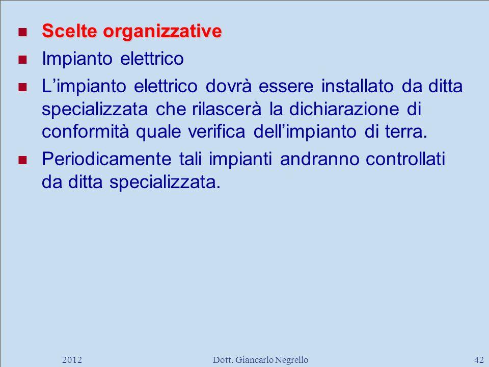 Scelte organizzative Scelte organizzative Impianto elettrico Limpianto elettrico dovrà essere installato da ditta specializzata che rilascerà la dichi