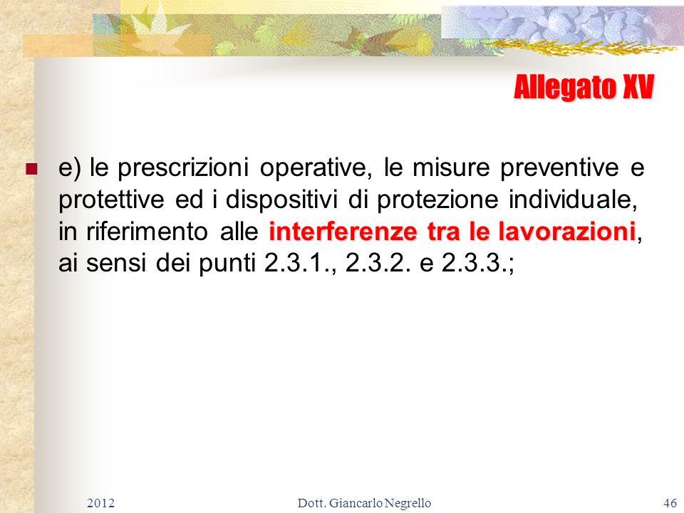 Allegato XV interferenze tra le lavorazioni e) le prescrizioni operative, le misure preventive e protettive ed i dispositivi di protezione individuale