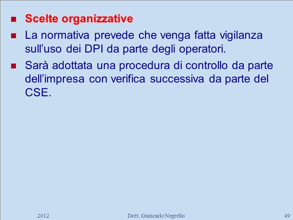 Scelte organizzative Scelte organizzative La normativa prevede che venga fatta vigilanza sulluso dei DPI da parte degli operatori. Sarà adottata una p