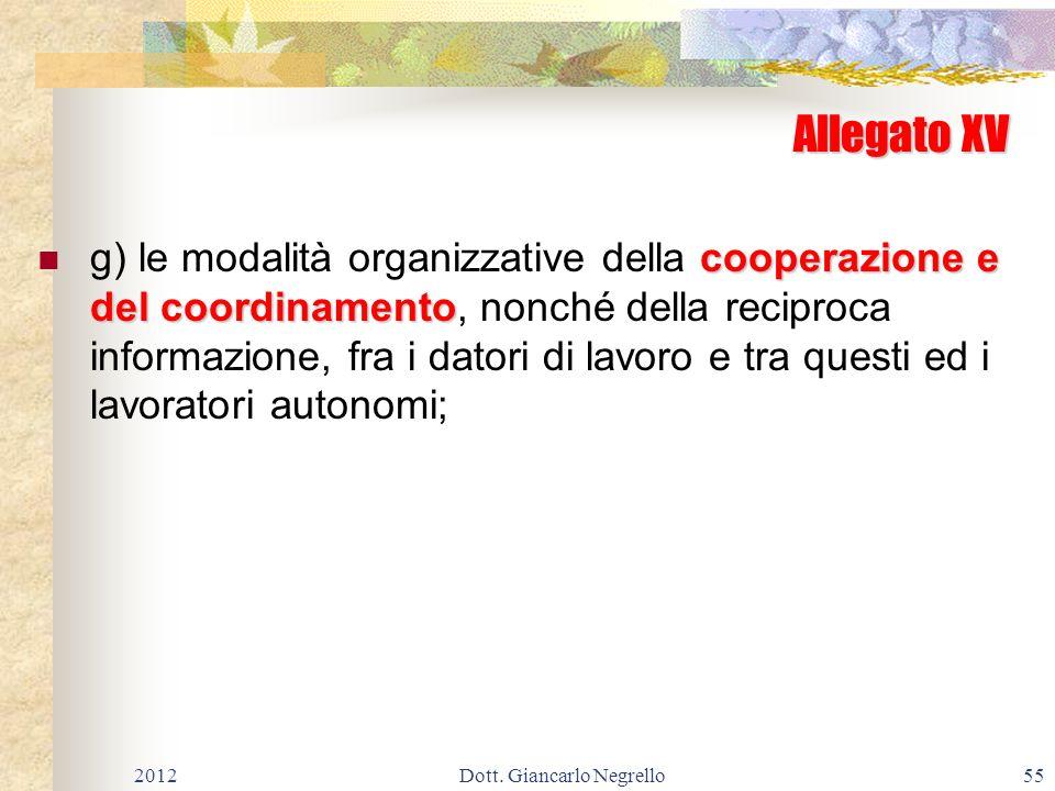 Allegato XV cooperazione e del coordinamento g) le modalità organizzative della cooperazione e del coordinamento, nonché della reciproca informazione,