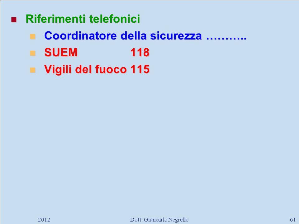 Riferimenti telefonici Riferimenti telefonici Coordinatore della sicurezza ……….. Coordinatore della sicurezza ……….. SUEM118 SUEM118 Vigili del fuoco11